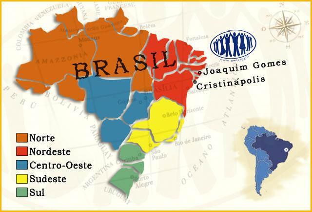 Dove siamo: L'Associazione è presente nel Nordeste del Brasile. Nella cartina evidenziati Joaquim Gomes (vicino a Maceiò) e Cristinapolis