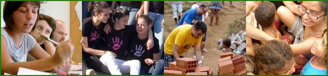 volontari al lavoro: ragazzi in ritiro di formazione, camerieri per la Cena Brasiliana, volontari in missione a costruire una casa e tra i bimbi